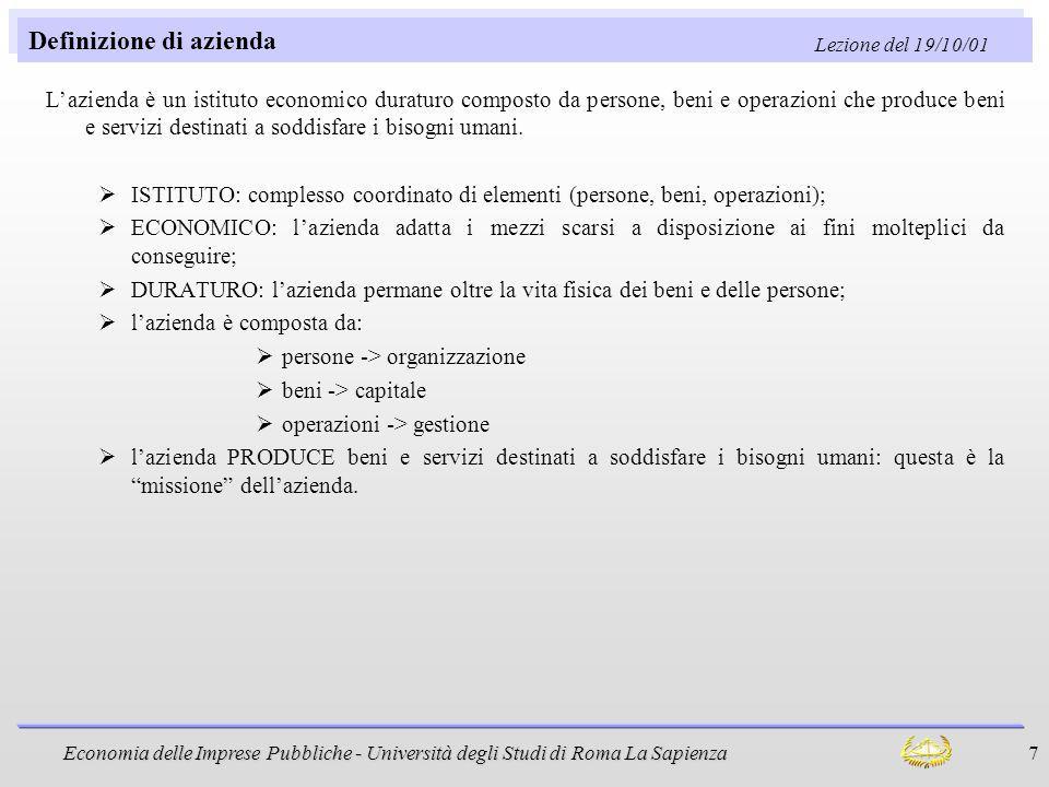 Economia delle Imprese Pubbliche - Università degli Studi di Roma La Sapienza 7 Definizione di azienda Lazienda è un istituto economico duraturo compo