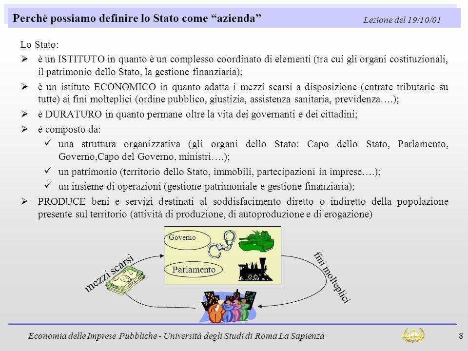 Economia delle Imprese Pubbliche - Università degli Studi di Roma La Sapienza 8 Perché possiamo definire lo Stato come azienda Lo Stato: è un ISTITUTO