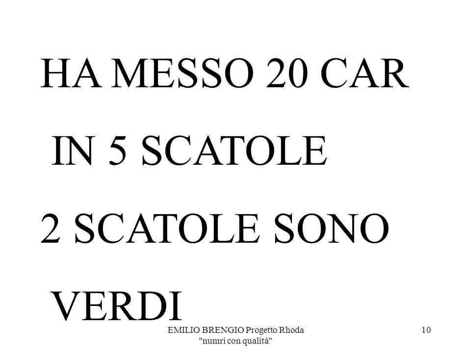 EMILIO BRENGIO Progetto Rhoda numri con qualità 9 QUANTE CARAMELLE HA MESSO PUFFETTA NELLE SCATOLE VERDI