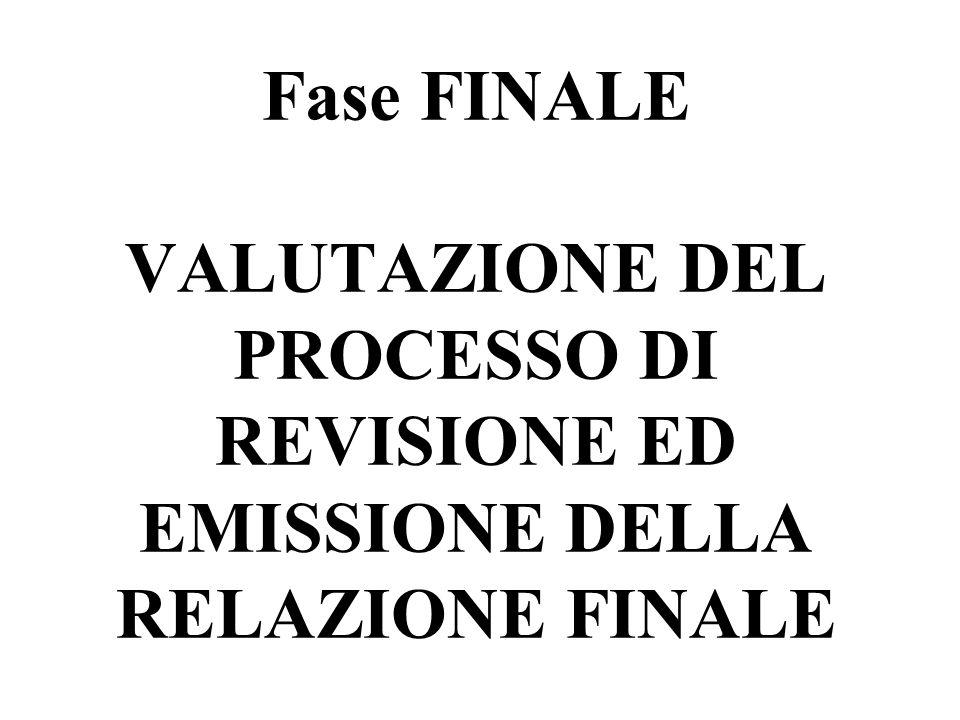 Fase FINALE VALUTAZIONE DEL PROCESSO DI REVISIONE ED EMISSIONE DELLA RELAZIONE FINALE
