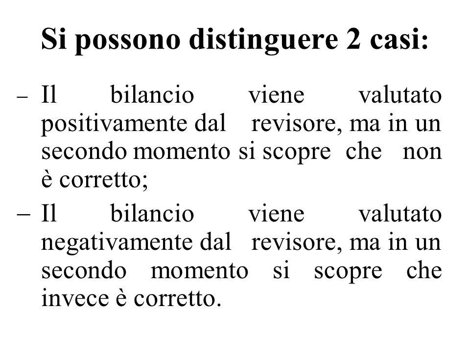 Si possono distinguere 2 casi : Il bilancio viene valutato positivamente dalrevisore, ma in un secondo momento si scopreche non è corretto; Il bilanci