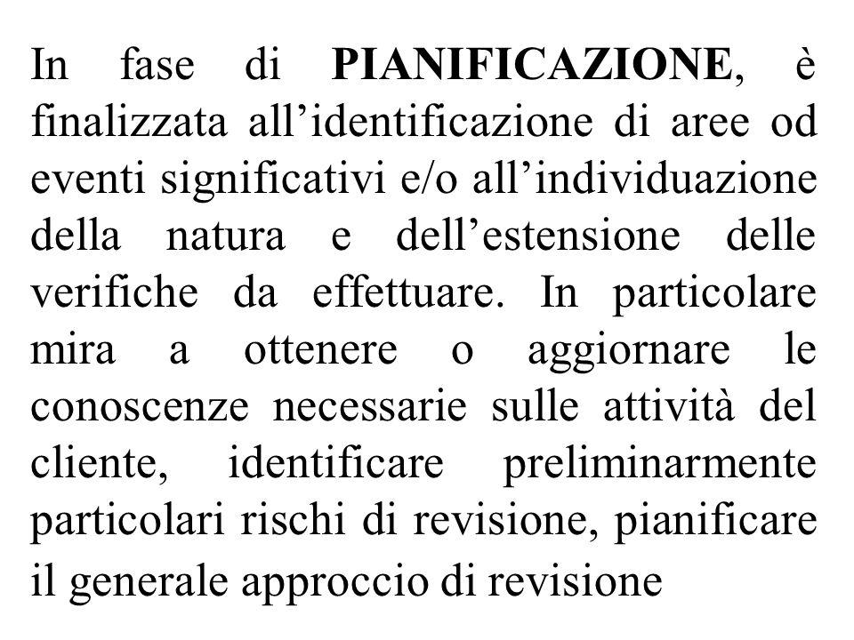 In fase di PIANIFICAZIONE, è finalizzata allidentificazione di aree od eventi significativi e/o allindividuazione della natura e dellestensione delle