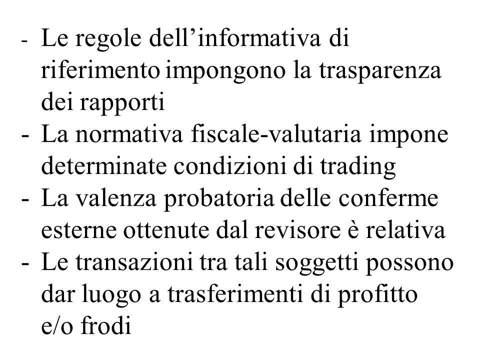 - Le regole dellinformativa di riferimentoimpongono la trasparenza dei rapporti -La normativa fiscale-valutaria impone determinate condizioni di tradi
