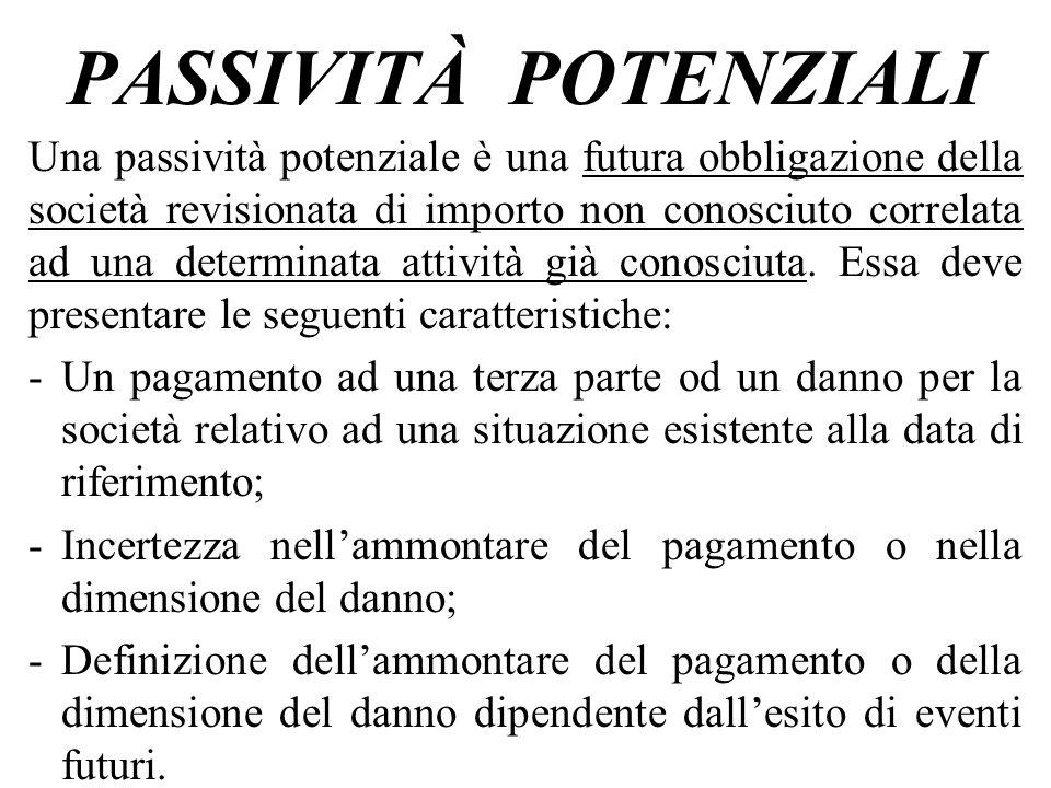 PASSIVITÀ POTENZIALI Una passività potenziale è una futura obbligazione della società revisionata di importo non conosciuto correlata ad una determina