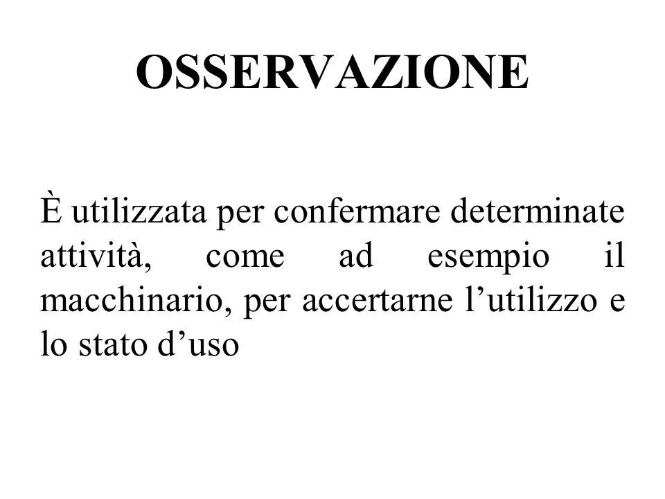 OSSERVAZIONE È utilizzata per confermare determinate attività, come ad esempio il macchinario, per accertarne lutilizzo e lo stato duso