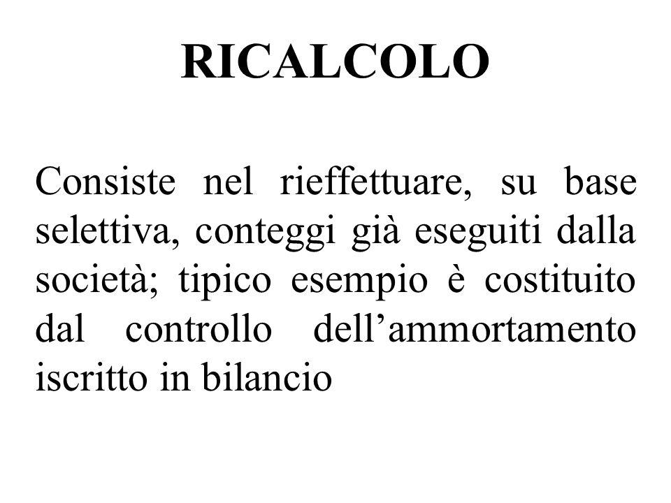 RICALCOLO Consiste nel rieffettuare, su base selettiva, conteggi già eseguiti dalla società; tipico esempio è costituito dal controllo dellammortament