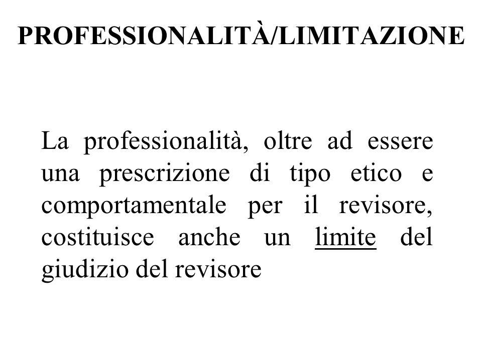 PROFESSIONALITÀ/LIMITAZIONE La professionalità, oltre ad essere una prescrizione di tipo etico e comportamentale per il revisore, costituisce anche un