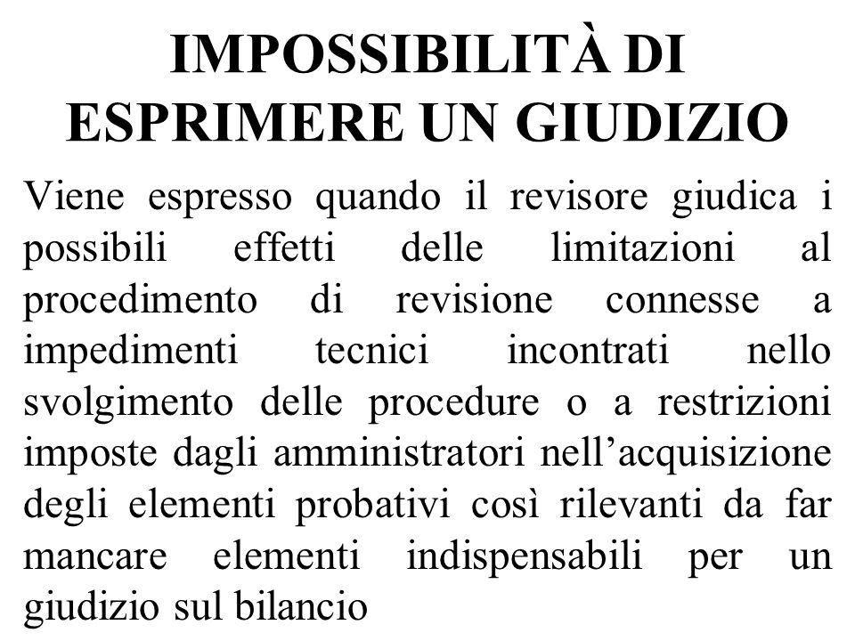 IMPOSSIBILITÀ DI ESPRIMERE UN GIUDIZIO Viene espresso quando il revisore giudica i possibili effetti delle limitazioni al procedimento di revisione co