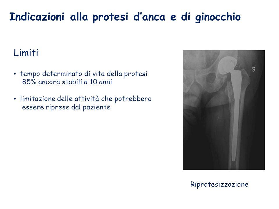 Indicazioni alla protesi danca e di ginocchio Limiti tempo determinato di vita della protesi 85% ancora stabili a 10 anni limitazione delle attività che potrebbero essere riprese dal paziente Riprotesizzazione