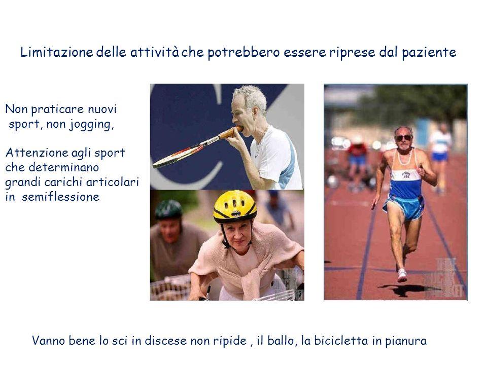 Limitazione delle attività che potrebbero essere riprese dal paziente Non praticare nuovi sport, non jogging, Attenzione agli sport che determinano grandi carichi articolari in semiflessione Vanno bene lo sci in discese non ripide, il ballo, la bicicletta in pianura