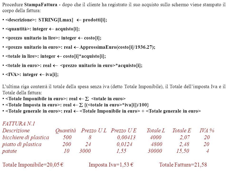 Riepilogo delle strutture fin qui considerate for i=1 to Progetto MostraArticolo: LeggiRigo; RegistraArticolo; StampaProdotto; 1 Inizializza file prodottibicchierepiattoarance patate unitàPZ KG costo8242500 3000 iva20 4 4 [1][2][3][4] I prodotti in vendita oggi sono: bicchierePZ820 piattoPZ2420 aranceKG25004 patateKG30004