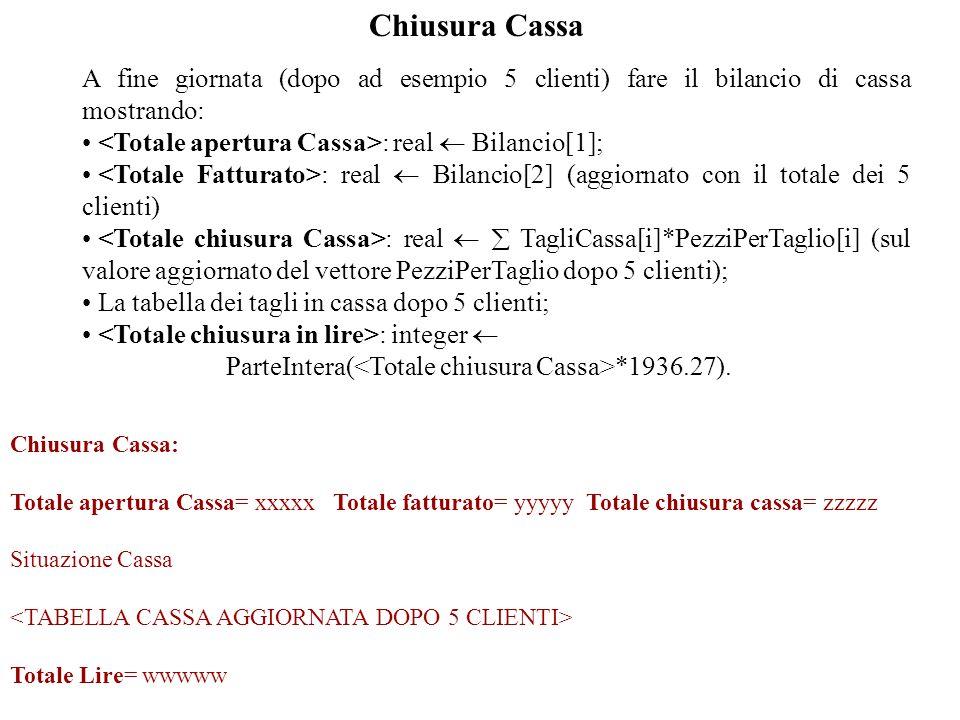 Chiusura Cassa A fine giornata (dopo ad esempio 5 clienti) fare il bilancio di cassa mostrando: : real Bilancio[1]; : real Bilancio[2] (aggiornato con il totale dei 5 clienti) : real TagliCassa[i]*PezziPerTaglio[i] (sul valore aggiornato del vettore PezziPerTaglio dopo 5 clienti); La tabella dei tagli in cassa dopo 5 clienti; : integer ParteIntera( *1936.27).