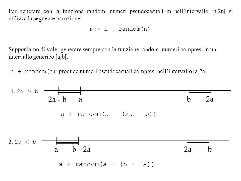 Per generare con la funzione random, numeri pseudocasuali m nellintervallo [n,2n[ si utilizza la seguente istruzione: m:= n + random(n) Supponiamo di voler generare sempre con la funzione random, numeri compresi in un intervallo generico [a,b[.