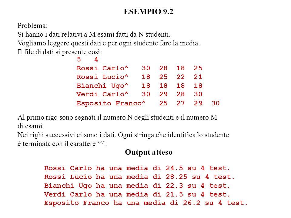 ESEMPIO 9.2 Problema: Si hanno i dati relativi a M esami fatti da N studenti.