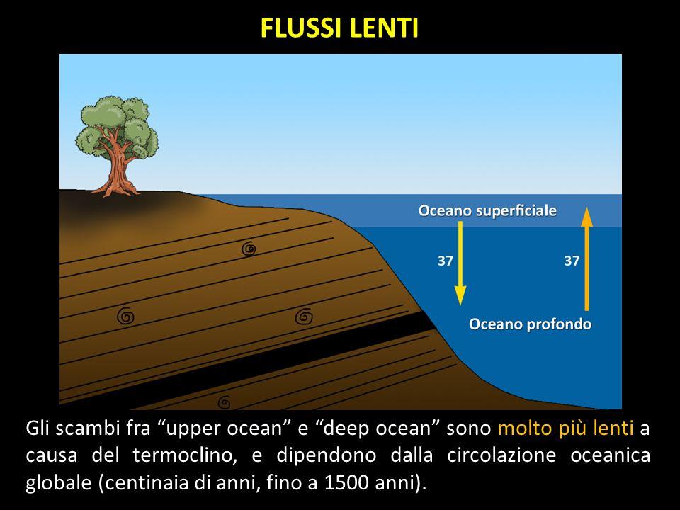 Gli scambi fra upper ocean e deep ocean sono molto più lenti a causa del termoclino, e dipendono dalla circolazione oceanica globale (centinaia di ann