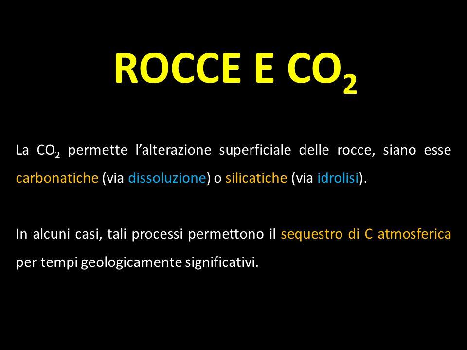La CO 2 permette lalterazione superficiale delle rocce, siano esse carbonatiche (via dissoluzione) o silicatiche (via idrolisi). In alcuni casi, tali