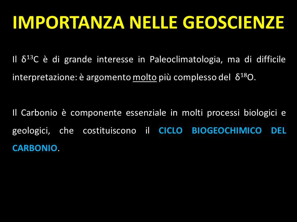 Il δ 13 C è di grande interesse in Paleoclimatologia, ma di difficile interpretazione: è argomento molto più complesso del δ 18 O. Il Carbonio è compo