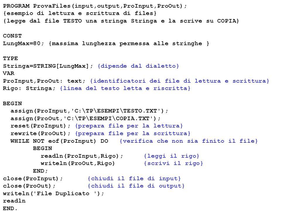 PROGRAM ProvaFiles(input,output,ProInput,ProOut); {esempio di lettura e scrittura di files} {legge dal file TESTO una stringa Stringa e la scrive su COPIA} CONST LungMax=80; {massima lunghezza permessa alle stringhe } TYPE Stringa=STRING[LungMax]; {dipende dal dialetto} VAR ProInput,ProOut: text; {identificatori dei file di lettura e scrittura} Rigo: Stringa; {linea del testo letta e riscritta} BEGIN assign(ProInput, C:\TP\ESEMPI\TESTO.TXT ); assign(ProOut, C:\TP\ESEMPI\COPIA.TXT ); reset(ProInput); {prepara file per la lettura} rewrite(ProOut); {prepara file per la scrittura} WHILE NOT eof(ProInput) DO {verifica che non sia finito il file} BEGIN readln(ProInput,Rigo); {leggi il rigo} writeln(ProOut,Rigo){scrivi il rigo} END; close(ProInput);{chiudi il file di input} close(ProOut);{chiudi il file di output} writeln( File Duplicato ); readln END.