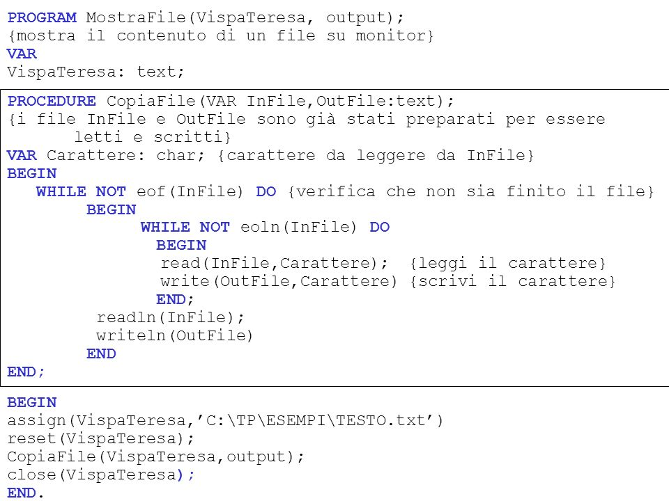 PROGRAM MostraFile(VispaTeresa, output); {mostra il contenuto di un file su monitor} VAR VispaTeresa: text; BEGIN assign(VispaTeresa,C:\TP\ESEMPI\TEST