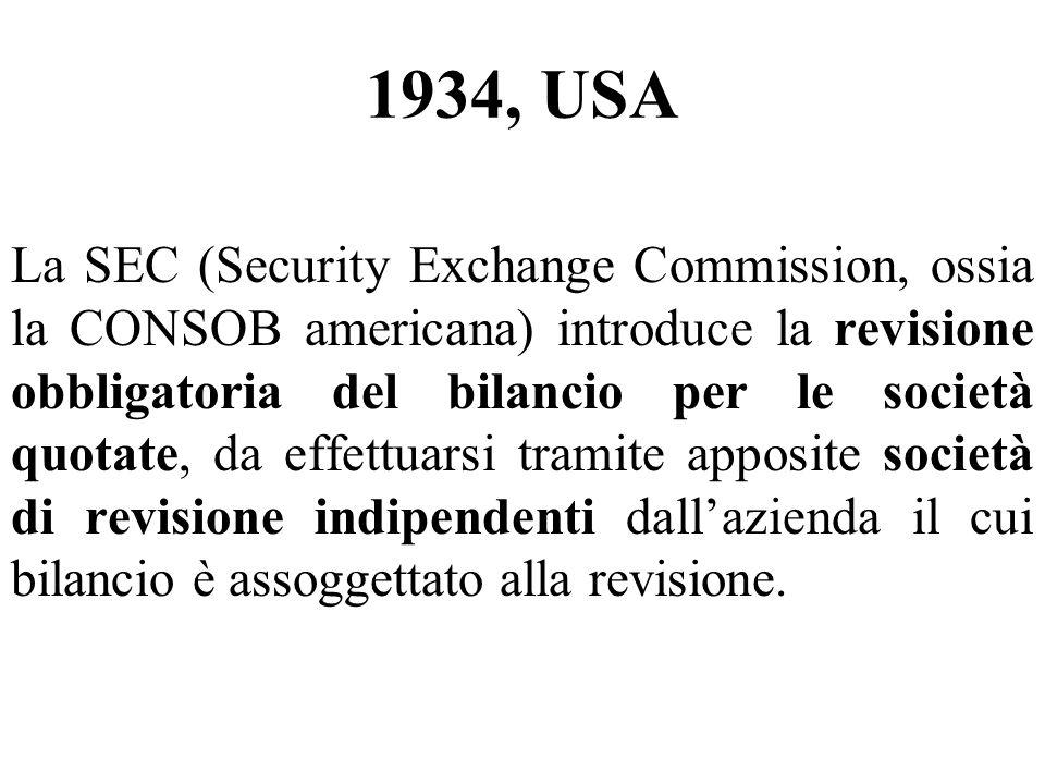 1934, USA La SEC (Security Exchange Commission, ossia la CONSOB americana) introduce la revisione obbligatoria del bilancio per le società quotate, da effettuarsi tramite apposite società di revisione indipendenti dallazienda il cui bilancio è assoggettato alla revisione.
