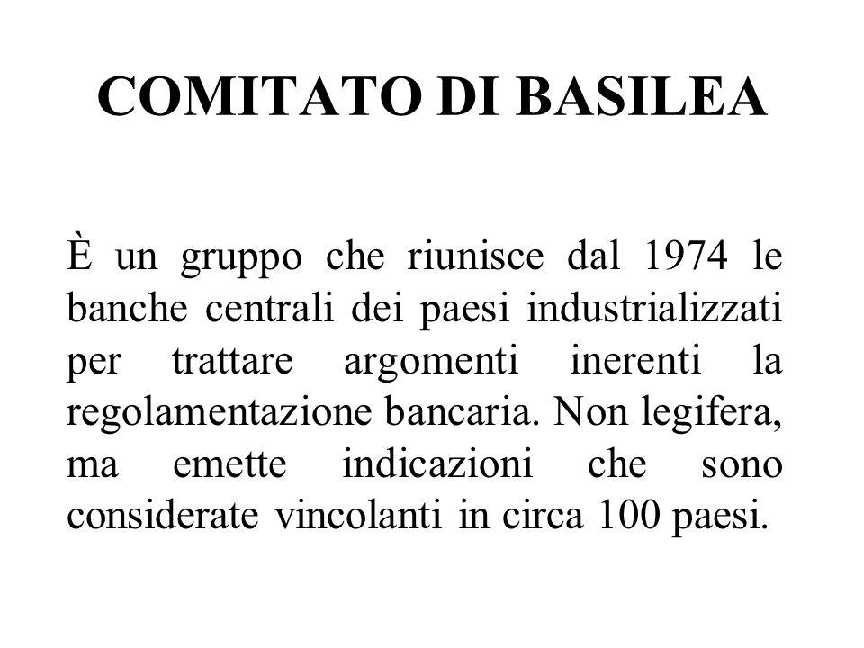 COMITATO DI BASILEA È un gruppo che riunisce dal 1974 le banche centrali dei paesi industrializzati per trattare argomenti inerenti la regolamentazione bancaria.