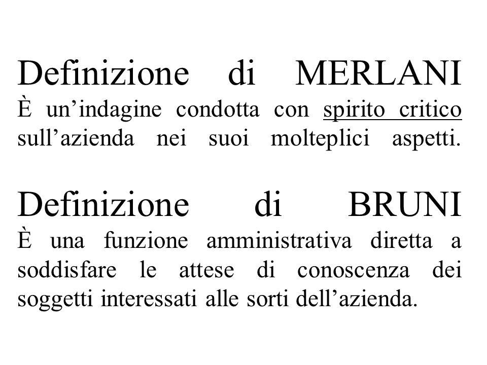 Definizione di MERLANI È unindagine condotta con spirito critico sullazienda nei suoi molteplici aspetti.