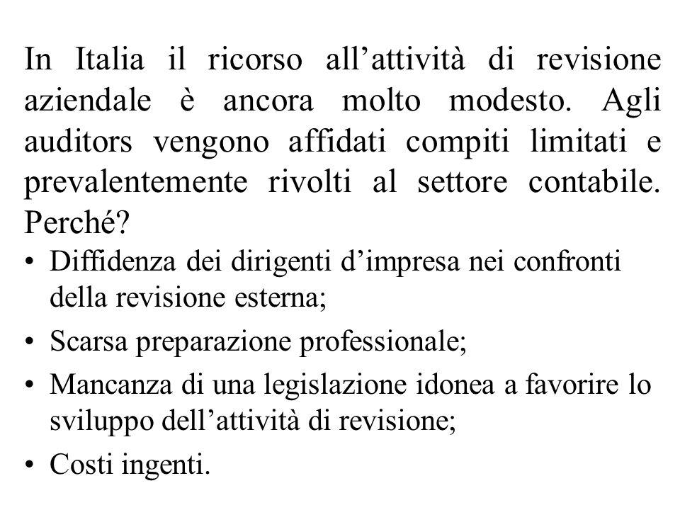 In Italia il ricorso allattività di revisione aziendale è ancora molto modesto.