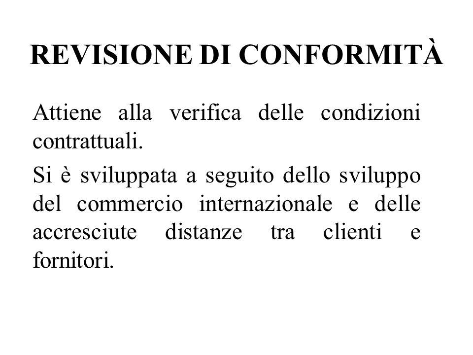 REVISIONE DI CONFORMITÀ Attiene alla verifica delle condizioni contrattuali.