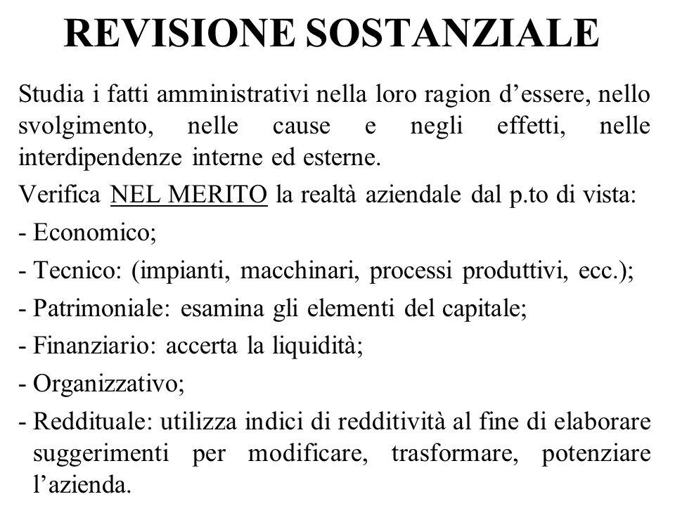 REVISIONE SOSTANZIALE Studia i fatti amministrativi nella loro ragion dessere, nello svolgimento, nelle cause e negli effetti, nelle interdipendenze interne ed esterne.