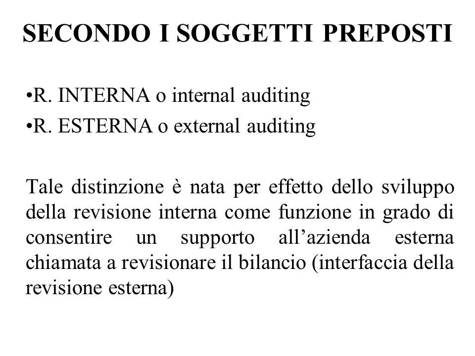 SECONDO I SOGGETTI PREPOSTI R.INTERNA o internal auditing R.