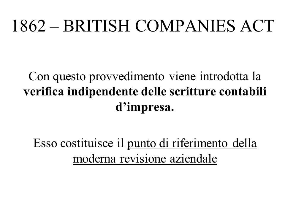 1862 – BRITISH COMPANIES ACT Con questo provvedimento viene introdotta la verifica indipendente delle scritture contabili dimpresa.