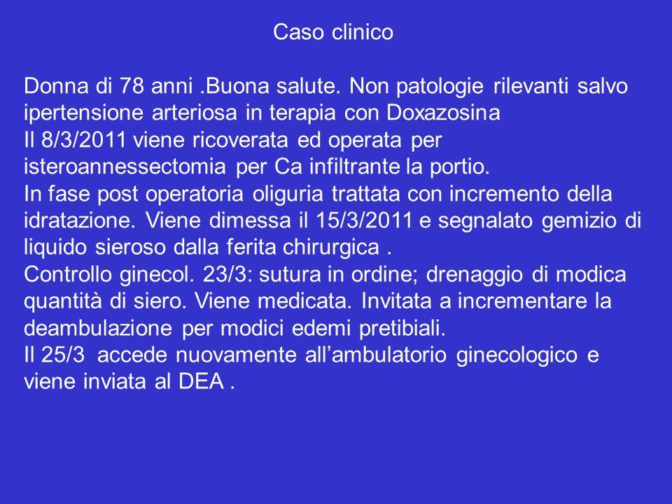 Caso clinico Donna di 78 anni.Buona salute. Non patologie rilevanti salvo ipertensione arteriosa in terapia con Doxazosina Il 8/3/2011 viene ricoverat