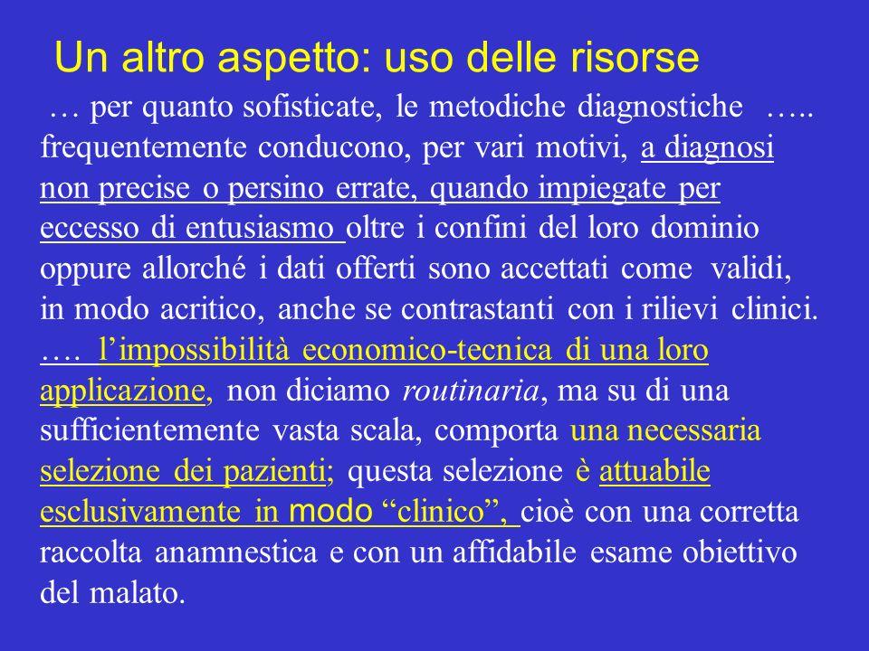 … per quanto sofisticate, le metodiche diagnostiche ….. frequentemente conducono, per vari motivi, a diagnosi non precise o persino errate, quando imp