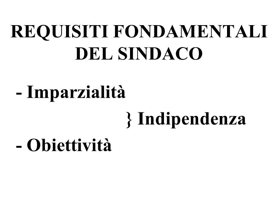 REQUISITI FONDAMENTALI DEL SINDACO - Imparzialità } Indipendenza - Obiettività