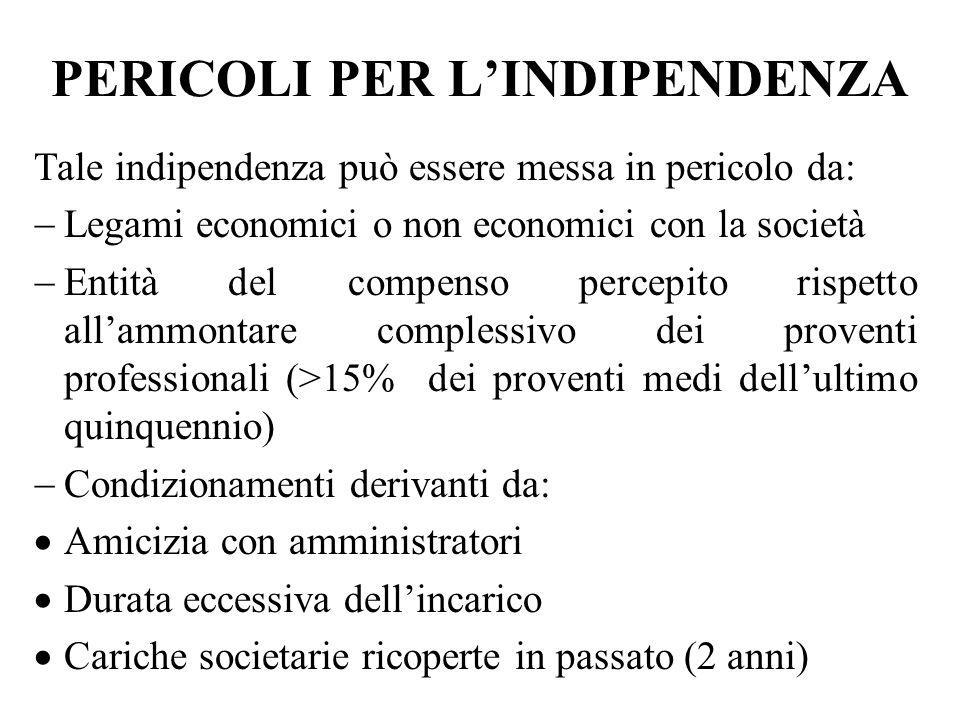 PERICOLI PER LINDIPENDENZA Tale indipendenza può essere messa in pericolo da: Legami economici o non economici con la società Entità del compenso perc