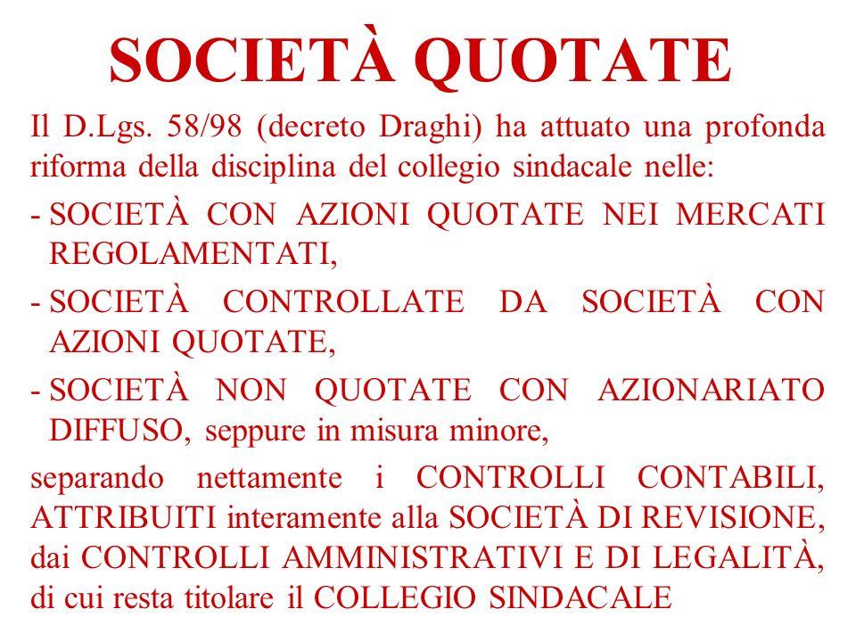 SOCIETÀ QUOTATE Il D.Lgs. 58/98 (decreto Draghi) ha attuato una profonda riforma della disciplina del collegio sindacale nelle: -SOCIETÀ CON AZIONI QU