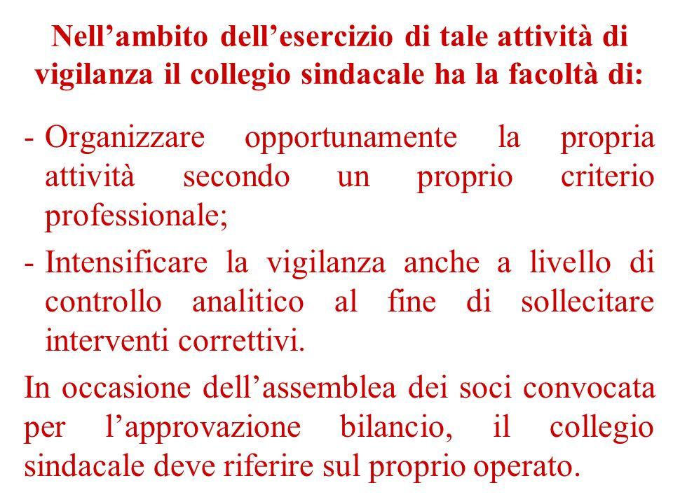 Nellambito dellesercizio di tale attività di vigilanza il collegio sindacale ha la facoltà di: -Organizzare opportunamente la propria attività secondo