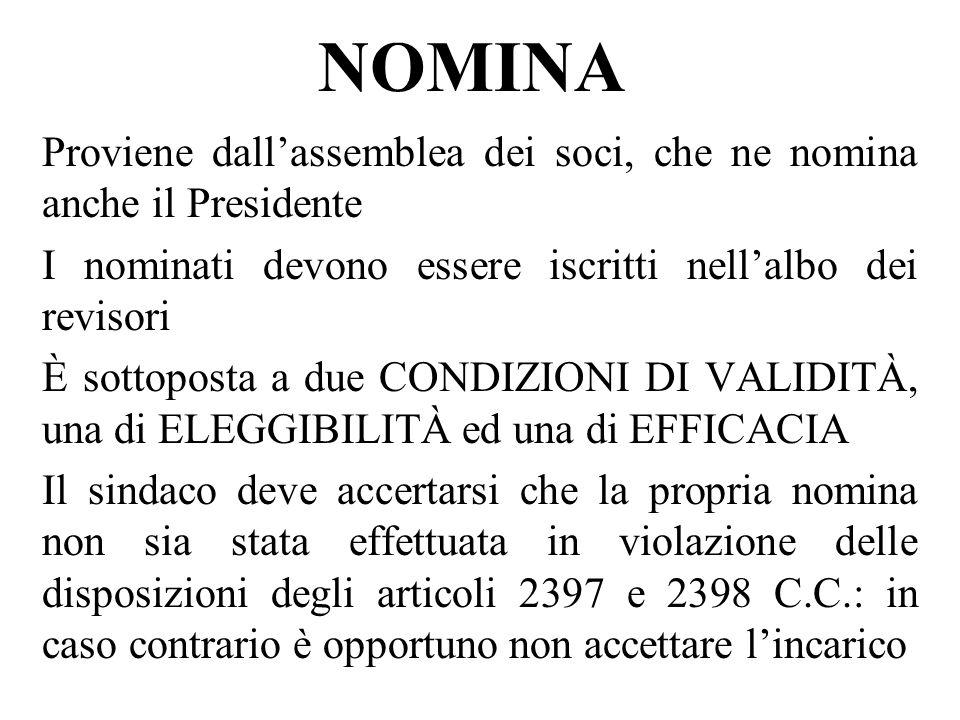 NOMINA Proviene dallassemblea dei soci, che ne nomina anche il Presidente I nominati devono essere iscritti nellalbo dei revisori È sottoposta a due C