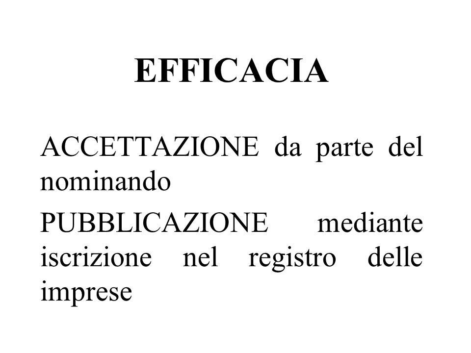 EFFICACIA ACCETTAZIONE da parte del nominando PUBBLICAZIONE mediante iscrizione nel registro delle imprese