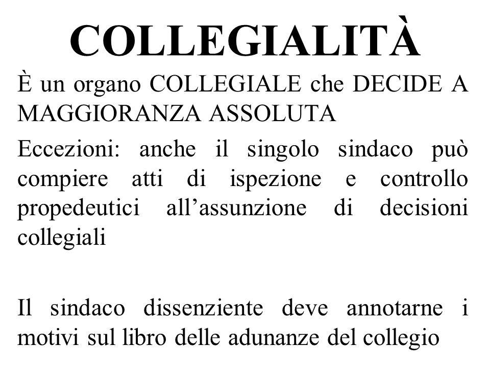 COLLEGIALITÀ È un organo COLLEGIALE che DECIDE A MAGGIORANZA ASSOLUTA Eccezioni: anche il singolo sindaco può compiere atti di ispezione e controllo p