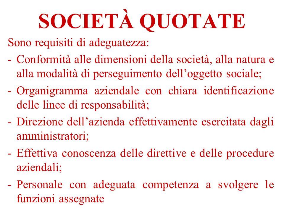 SOCIETÀ QUOTATE Sono requisiti di adeguatezza: -Conformità alle dimensioni della società, alla natura e alla modalità di perseguimento delloggetto soc