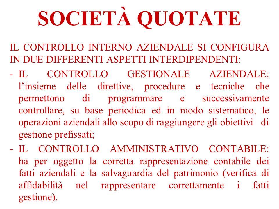 SOCIETÀ QUOTATE IL CONTROLLO INTERNO AZIENDALE SI CONFIGURA IN DUE DIFFERENTI ASPETTI INTERDIPENDENTI: -IL CONTROLLO GESTIONALE AZIENDALE: linsieme de