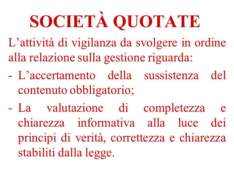 SOCIETÀ QUOTATE Lattività di vigilanza da svolgere in ordine alla relazione sulla gestione riguarda: -Laccertamento della sussistenza del contenuto ob