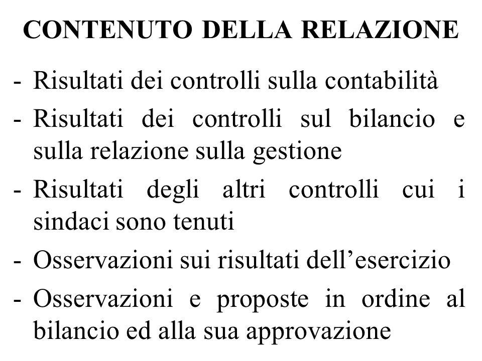 CONTENUTO DELLA RELAZIONE -Risultati dei controlli sulla contabilità -Risultati dei controlli sul bilancio e sulla relazione sulla gestione -Risultati