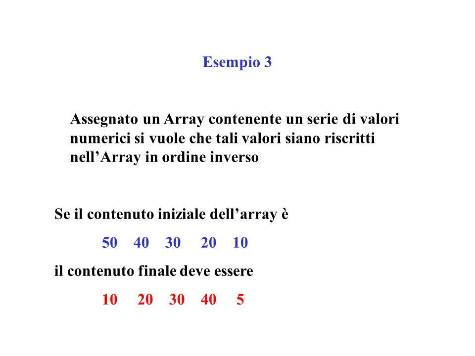 Esempio 3 PROGRAM Arr(input,output); TYPE IndiceType = 1..5; IntArray = ARRAY [IndiceType] OF integer; VAR Interi: IntArray; Indice: IndiceType; PROCEDURE Inverti (VAR Inter: IntArray); VAR Ind: Integer; Invert, Temp: integer; BEGIN Invert := 6; FOR Ind := 1 TO Invert DIV 2 DO BEGIN Temp:=Inter[Invert - Ind]; Inter[Invert - Ind]:= Inter[Ind]; Inter[Ind]:=Temp; END END; BEGIN Interi [1]:=50; Interi [2]:=40; Interi [3]:=30; Interi [4]:=20; Interi [5]:=10; writeln ( I numeri in ordine diretto sono ); FOR Indice := 1 TO 5 DO write (Interi[Indice]: 5); writeln; Inverti(Interi); writeln ( I numeri in ordine inverso sono ); FOR Indice := 1 TO 5 DO write (Interi[Indice]: 5); writeln; readln END.