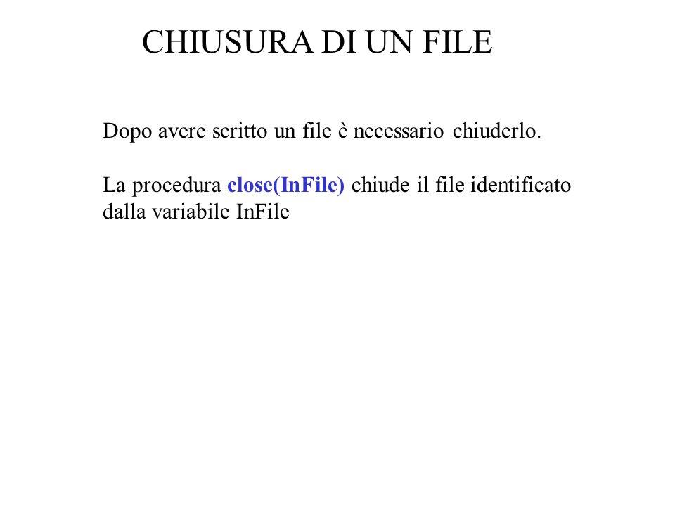 Dopo avere scritto un file è necessario chiuderlo.
