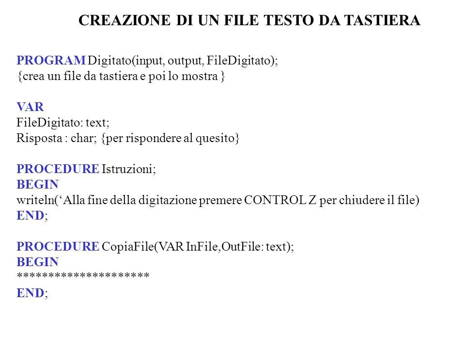 CREAZIONE DI UN FILE TESTO DA TASTIERA PROGRAM Digitato(input, output, FileDigitato); {crea un file da tastiera e poi lo mostra } VAR FileDigitato: text; Risposta : char; {per rispondere al quesito} PROCEDURE Istruzioni; BEGIN writeln(Alla fine della digitazione premere CONTROL Z per chiudere il file) END; PROCEDURE CopiaFile(VAR InFile,OutFile: text); BEGIN ********************* END;