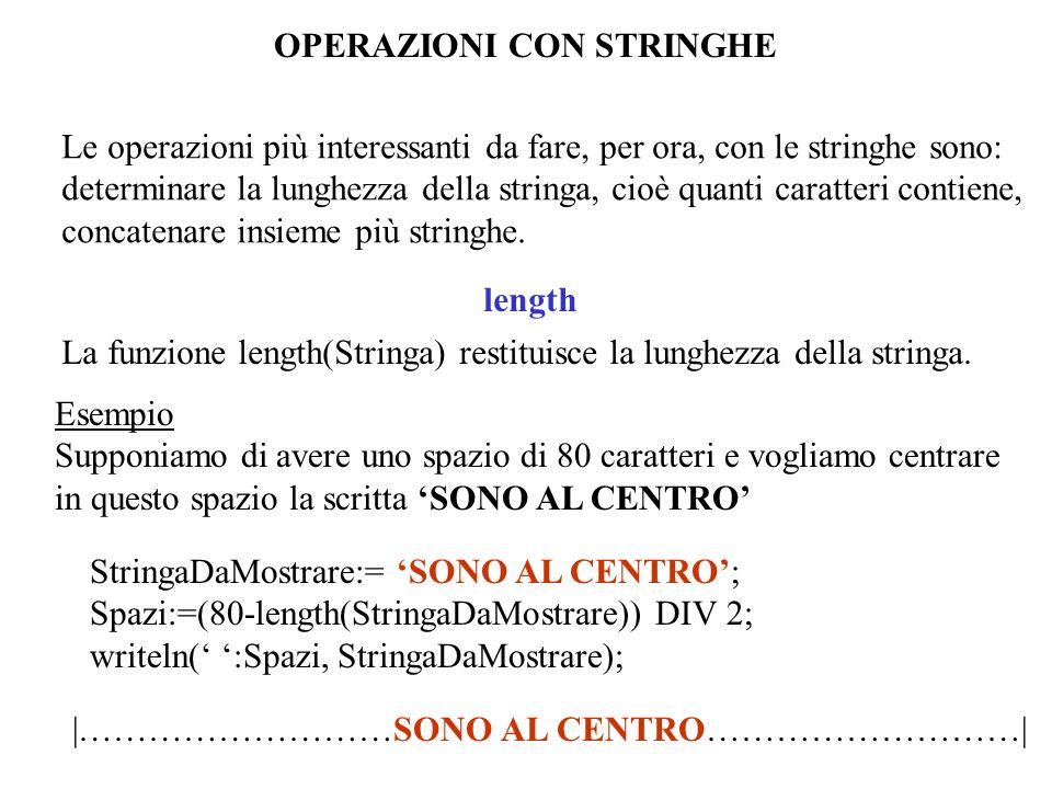 OPERAZIONI CON STRINGHE Le operazioni più interessanti da fare, per ora, con le stringhe sono: determinare la lunghezza della stringa, cioè quanti caratteri contiene, concatenare insieme più stringhe.