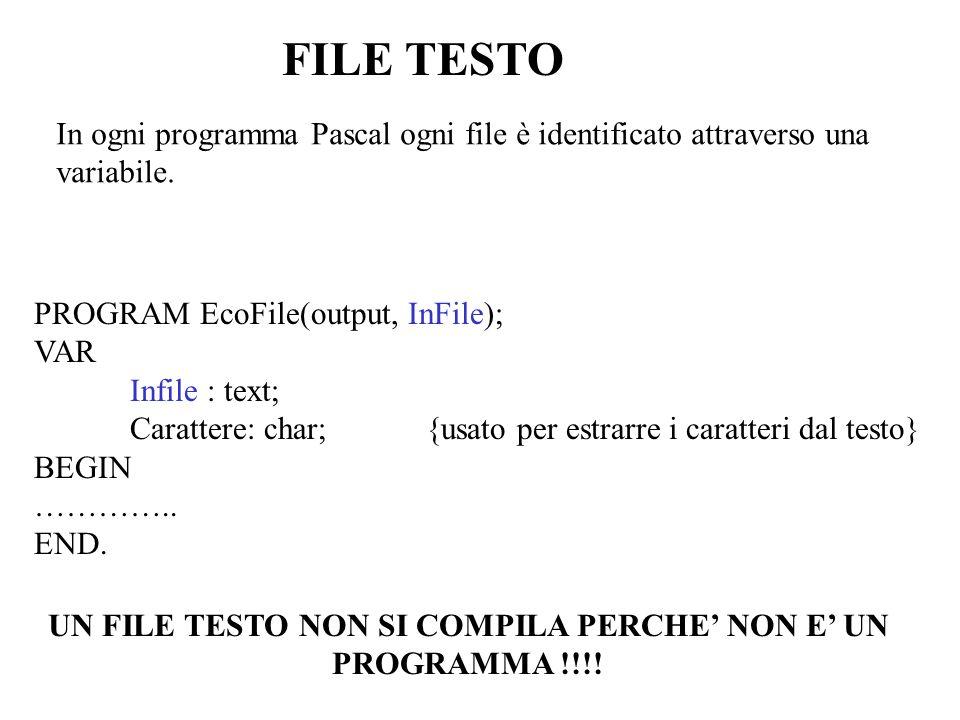 PROGRAM ProvaFiles(input,output,ProLett); {legge dal file TESTO i caratteri uno alla volta e li mostra a video} VAR ProLett: text; Carattere: char; BEGIN assign(ProLett, C:\TP\ESEMPI\TESTO.TXT ); reset(ProLett); WHILE NOT eof(ProLett) DO BEGIN WHILE NOT eoln(ProLett) DO BEGIN read(ProLett,Carattere); write(Carattere) END; readln(ProLett); writeln; END; readln END.