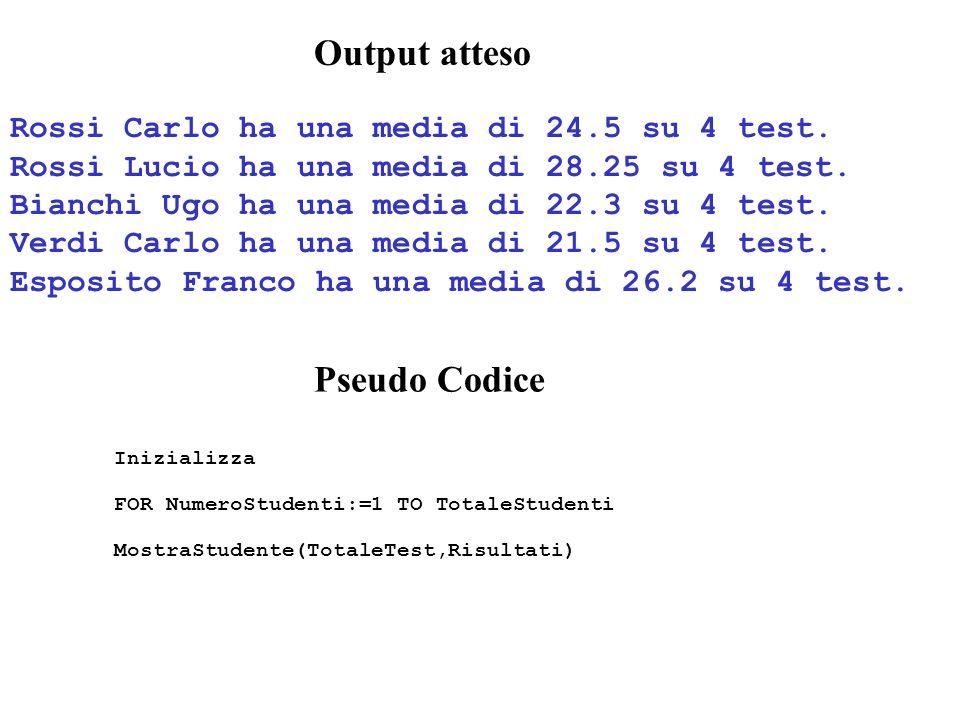 Output atteso Rossi Carlo ha una media di 24.5 su 4 test.